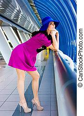 beau, bleu, robe pourpre, girl, chapeau