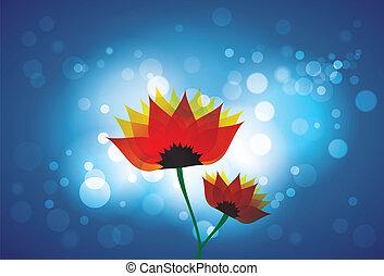 beau, bleu, rouges, pâquerette, fleurs oranges, toile de fond