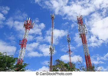 beau, bleu, tour, ciel, communications