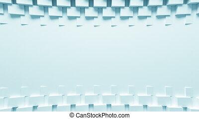beau, bleu, uhd, fait boucle, animation., engendré, lumière, résumé, process., boîtes, mouvement, rotation, informatique, conception, 4k, fond, écran, shadow., 3840x2160., 3d