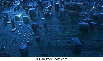 beau, bleu, uhd, fait boucle, vol, carte mère, sur, flares., animation, 4k, circuit, numérique, board., technologie, concept., 3d