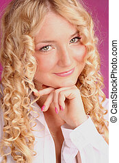 beau, blond, fille souriant