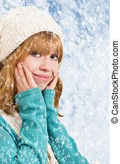 beau, blond, girl, flocons neige