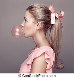beau, blond, mode, portrait., woman.