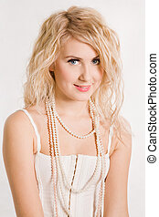 beau, blond, perles, girl