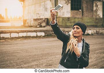 beau, blond, selfie