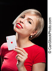 beau, blonds, carte, projection, girl, poker