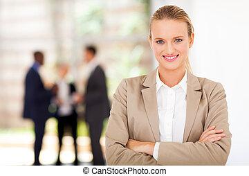 beau, blonds, femme affaires, portrait