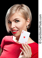 beau, blonds, girl, projection, a, poker, carte