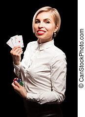 beau, blonds, girl, projection, a, poker, cartes