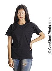 beau, blue-jeans, t-shirt, arrière-plan noir, girl, blanc