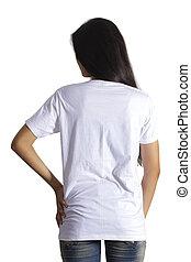 beau, blue-jeans, t-shirt, fond, girl, blanc