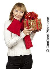 beau, boîte, femme, fond, cadeau, isolé, tenue, blanc
