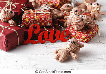 beau, boîte, jouet, mesquin, cadeau, ours nounours, idée, bois, fond, chic