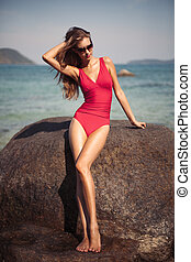 beau, body., swimsuit., sexy, modèle, rouges