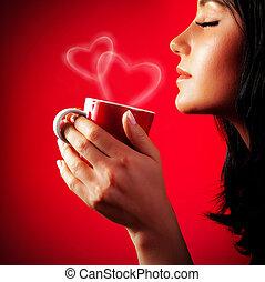beau, boire, dame, café