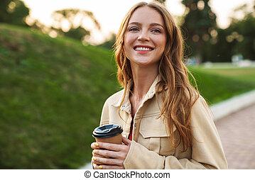 beau, boire, nature, femme, coffee., parc, jeune, gingembre