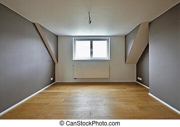 beau, bois, chaud, planchers, intérieur, maison
