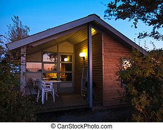beau, bois, hutte, temps, crépuscule, cabine