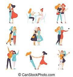 beau, bon, dépenser, amis, ensemble, ensemble, femmes, vecteur, illustration, femme, temps, heureux, amitié, réunion