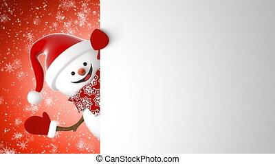 beau, bonhomme de neige, année, sourire heureux, card., concept., animation, snowfall., 3840x2160, nouveau, chapeau, 3d, écran, channel., main, santa, alpha, dessin animé, hd, animé, salutation, vert, 4k, ultra