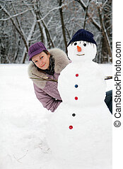 beau, bonhomme de neige, girl