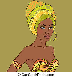 beau, boucle oreille, portrait femme, africaine