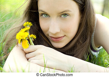 beau, bouquet, adolescent, jeune, pissenlit