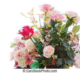 beau, bouquet, arragngement, artificiel, isolé, roses, fleurs