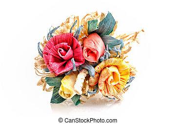 beau, bouquet, artificiel, roses