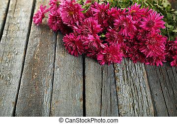 beau, bouquet, chrysanthèmes, arrière-plan violet, bois