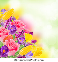 beau, bouquet, de, flowers.