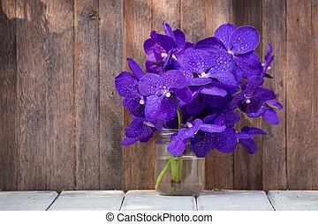 beau, bouquet fleur, bois, fond, orchidées