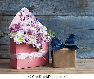 beau, bouquet, fleur, fond, bois