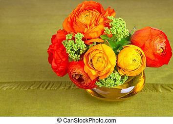 beau, bouquet, fleur, ranunculus, vase
