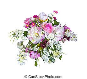 beau, bouquet, fleurs, artificiel