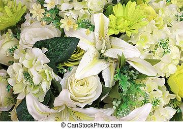 beau, bouquet, fleurs, artificiel, multicolore