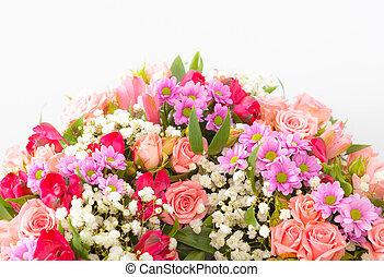 beau, bouquet, fleurs blanches, printemps