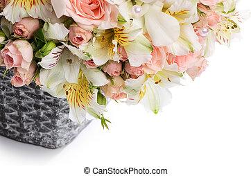 beau, bouquet, fleurs, panier