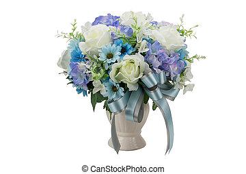 beau, bouquet, isolé, artificiel, fleurs blanches