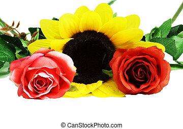 beau, bouquet, isolé, fleurs, fond, blanc