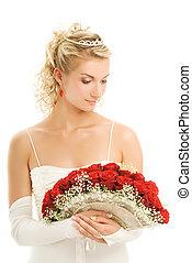 beau, bouquet, isolé, mariée, roses., luxe, fond, blanc rouge