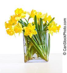 beau, bouquet, isolé, vase, verre, jonquilles, blanc