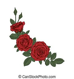 beau, bouquet, leaves., arrangement., roses, floral, rouges