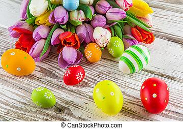 beau, bouquet, oeufs, paques, tulipes