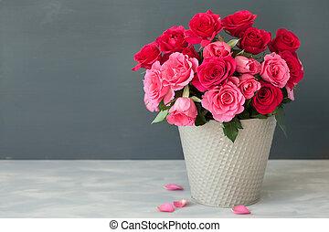 beau, bouquet, rose, vase, fleurs, rouges