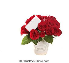 beau, bouquet, signe, roses, message blanc, blanc