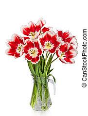 beau, bouquet, tulipes, isolé, vase, fond, fleurs blanches, rouges