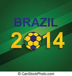 beau, brésil, concept, créatif, couleurs, balle, fond, football