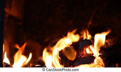 beau, brûler, cheminée